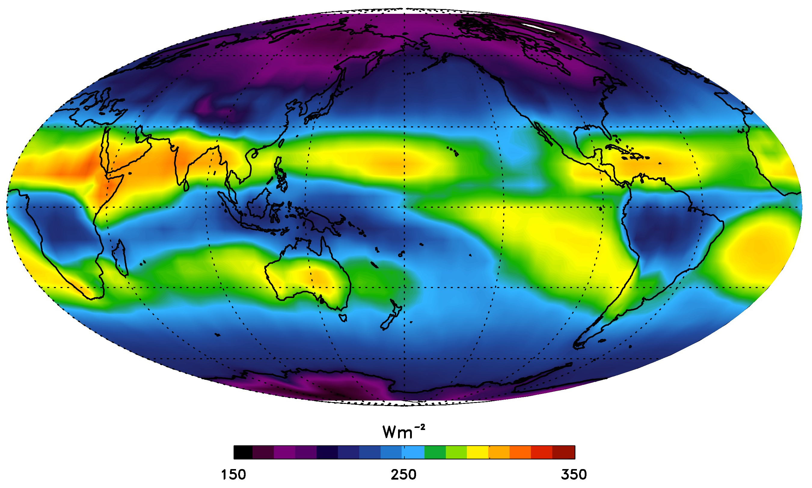 All Sky Outgoing Longwave Radiation - February Average