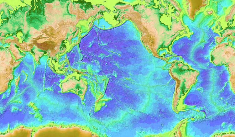 Global Seafloor Topography - measured and estimated from gravity data derived from satellite altimetry and shipboard depth soundings